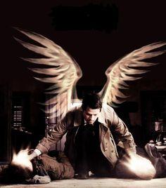 BADASS Castiel.  Smiting demons.  The wings were shopped in.