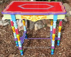 SOLD sample of CUSTOM WORK-Hand Painted Furniture- Side Table or Accent Table