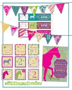 Horse Equestrian Vintage Birthday Party Pack Set by SweetPapermint, $22.00