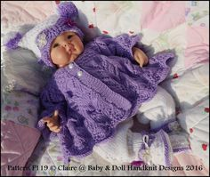 Baby and Doll Hand Knit Designs for Sale Baby Knitting Patterns, Knitting Designs, Baby Patterns, Knitting Yarn, Hand Knitting, Doll Patterns, Crochet Pattern, 4 Ply Yarn, Knitting For Beginners