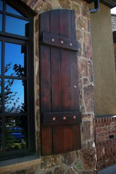 Exterior shutters design, pictures, remodel, decor and ideas - page 4 exterior doors Window Shutters Exterior, Outdoor Shutters, Rustic Shutters, House Shutters, Exterior Doors, Exterior Paint, Exterior Design, Outside Shutters, Country Shutters