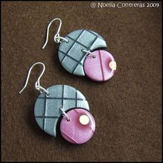 Polymer clay earrings by Daoine, mica shift technique.