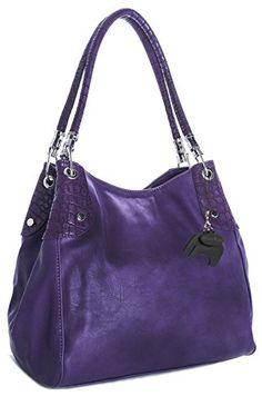 Big Handbag Shop Womens Multi Pockets Medium Shoulder Bag (Purple - Silver Trim) >>> You can find out more details at the link of the image.