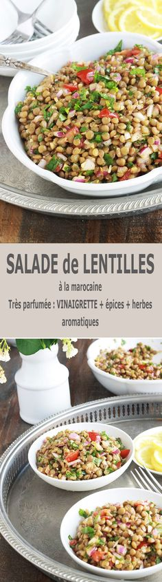 This Moroccan lentil salad is deliciously scented with cumin, coriander and mint. Very simple and easy to do. Composed of lentils, tomatoes, onion and a simple vinaigrette. Vegetarian Appetizers, Appetizer Recipes, Vegetarian Recipes, Vegan Breakfast Recipes, Good Healthy Recipes, Grilling Recipes, Meat Recipes, Vinaigrette, Lentil Salad