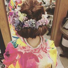 紫陽花を沢山使って夏らしい和装のヘアスタイル♡♡ @thesweetcloset_hair_make  #rumiヘアアレンジ