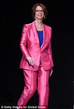 Julia Gillard hailed as a 'fierce' feminist as she shows off pink suit #dailymail