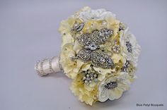 Crystal Butterfly Jeweled Flower Bouquet #wedding #bouquet