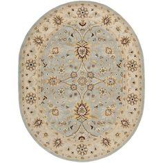 Safavieh Handmade Kerman Light Blue/ Ivory Gold Wool Rug (7'6 x 9'6 Oval)