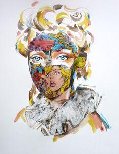 mixed media illustrations by Sandra Chevrier