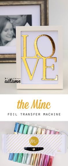 so cool! the new minc foil transfer machine can add colored or gold foil to anything printed with a laser printer. Click through for a video showing how easy it is to use! #HSMinc #sponsored