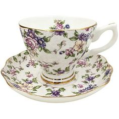 Jsaron China Vintage Formal Flower Porcelain Tea Cup Spoon and Saucer Set
