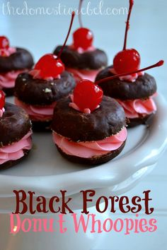Black Forest Donut Whoopies -- a fun take on Black Forest Cake and whoopie pies! #donuts #cherry #chocolate #valentinesday
