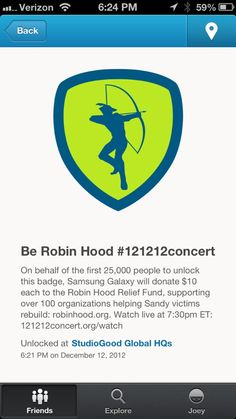 #causemarketing from @Samsung Mobile --> $10/checkin on @foursquare to @Robin Hood #121212concert #good #fb via @Joey Leslie