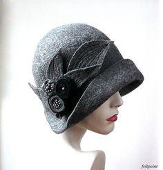Millinery hat Felt hat Felted Hats felt hats Cloche Hat Flapper 1920 Hat Art Hat Cloche 1920's hat gray cloche hats Mrs Fisher hat Art Deco