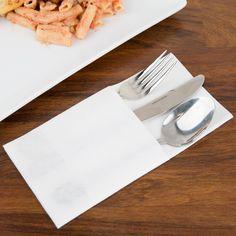 Touchstone by Choice Linen-Feel White Pocket Fold Dinner Napkin - 300/Case