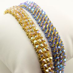 """Create this sparkling mesh like bracelet using Right Angle Weave. Don't worry if you don't know it, our step by step instructions will take you """"step by step""""."""
