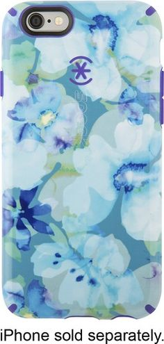 Speck - Inked Hard Shell Case for Apple® iPhone® 6 and 6s - Aqua Floral Blue/Ultraviolet Purple