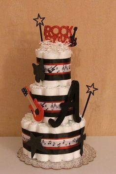 Rock N Roll Rock Star Guitar Music Musical by GmaJuliesDiaperCakes