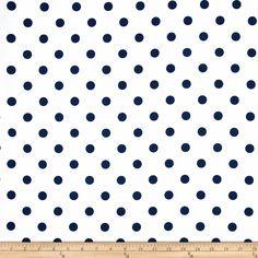 Premier Prints Polka Dot White/Blue Fabric By The Yard