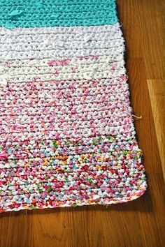 Crocheted Rug from sheets