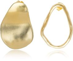 Bjorg The Line and The Shadow Earrings Earring Crafts, Asymmetrical Design, Gold Earrings, 925 Silver, 18k Gold, Jewelery, Waves, Metal, Gifts
