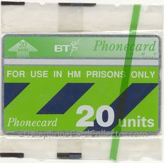 BT HM Prison Phonecard issued in 2000 - Control number: (does not appear in Phonecard Catalogue) Over The Years, Prison, Britain, The Unit, Number