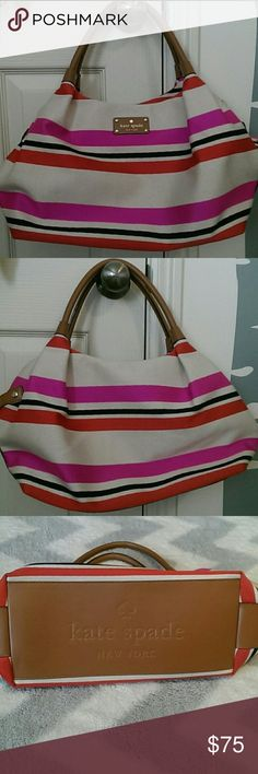 """Kate Spade Striped Stevie Bag Purse is in great condition- bought new without tags and used only a couple of times- no signs of wear/tear/ or stains/spots.  Looks new. Bag is made of cotton fabric and leather trim with leather handles. Zip closure with beige signature Spade lining. Measures about 13"""" x 8.5"""" x 6.25"""" kate spade Bags Satchels"""