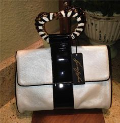 Auth Kenneth Jay Lane Zanzibar Zebra Bracelet Evening Bag Purse Handbag   eBay