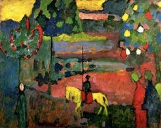 Lancer in Landscape 1908 Wassily Kandinsky oil on board on panel 63 x 81 cm. The Merzbacher Collection, Switzerland.