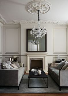 Living room painted in Quarter Silver by Zoffany Formal Living Rooms, New Living Room, Living Room Interior, Home Interior Design, Home And Living, Living Room Decor, Living Room With Fireplace, Living Room Inspiration, House Rooms