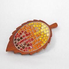 Mosaic Leaf Brooch by Fischer Fine Arts $48