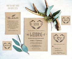 Rustic Wedding Invitation Set, Printable Wedding Invitation Template, DIY Kraft Wedding Invitation Cards, Floral Heart Wreath, VW08 #weddinginvitation