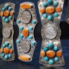 Turquoise & Orange Spiny Oyster Shell concho belt