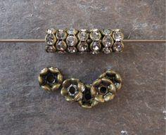 6mm Wavy Rhinestone Rondelle Beads Brass by TeapotsandTelephones, $2.50