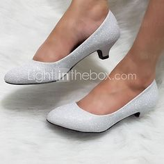 Women's Shoes Glitter Kitten Heel Heels Pumps/Heels Wedding/Outdoor/Dress/Casual Silver/Gold - CAD $33.69