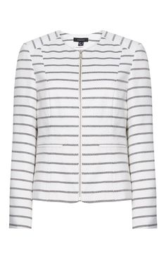 Primark - White Stripe Zip-Up Jacket