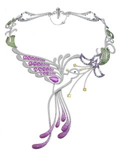A magnificent Hummingbird necklace from the Animal Collection. Designed as a diamond and pink sapphire humming bird drinking from a lotus flower, to the gem-set floral necklace.