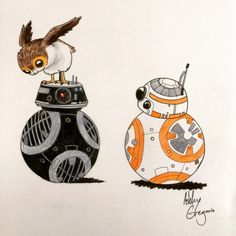 """I love how BB-8's all like, """"What's the matter?"""" and BB-9E doesn't even have a face, but you can just tell he's ready to kill something because this porg is sitting on his head."""