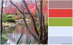 Oriental Woodland Colour Palette, greens, blossom pink