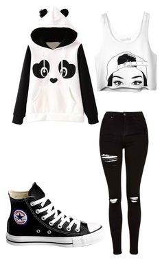 """V-1"" by theemounicorn0907 ❤ liked on Polyvore featuring Topshop and Converse"