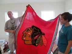 Finished Chicago Black Hawks Afghan - Way to go Hawks!!! http://www.allfreecrochet.com/Crochet-Afghan-Patterns/Blackhawk-Afghan