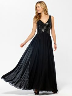 Black Faux Leather Pieced Gown