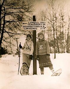 Collegiate Girl Snowshoers c. 1920's from VintageWinter