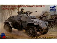 The Bronco 1/35 German Sd.Kfz.221 Armoured Car in the plastic armoured car model range accurately recreates the real life German armoured car used during World War II. This plastic armoured car kit requires paint and glue to complete.