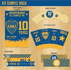 #Boca #decoracion #cumple #futbol #kit #fiesta #invitaciones #diseño #tarjetas #varon #cartel #candybar #banderitas
