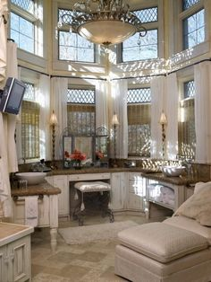Wow!!!! Talk about a bathroom!!! I do not ever recall seeing a two story bath!  TG