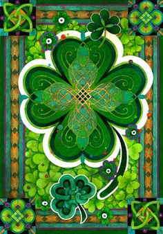 I really love all the green in this one! Even if it is four leaf clover in the middle it is redeemed by all the Celtic designs and gorgeous green!!