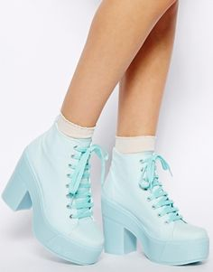 Amazing!! want want want - Shelly's London Mint Blue Lace Up Ankle Boots