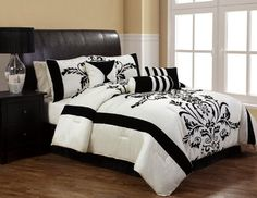 "7Pcs King Salma Black and White Flocking Comforter Bedding Set by GreenCanyon. $79.99. This luxury comforter set features grand floral flocking on white faux silkground . Great for any bedroom. 3 decorative pillows included.Features Size: KingColor: Black/White100% PolyesterMachine washableThis set includes:1 Comforter (102""x92"")2 Shams (20""x36"")1 Bedskirt(78""x80""+14"")3 Decorative Cushions"