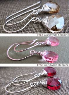 Items similar to Clear Swarovski Crystal Dangle Earrings - Sterling Silver Wire Wrapped Briolette Eearrings - Bridal Jewelry on Etsy Bridal Jewelry, Diy Jewelry, Sterling Silver Earrings, Dangle Earrings, Silver Bangle Bracelets, Swarovski Crystals, Jewerly, Dangles, Spaces
